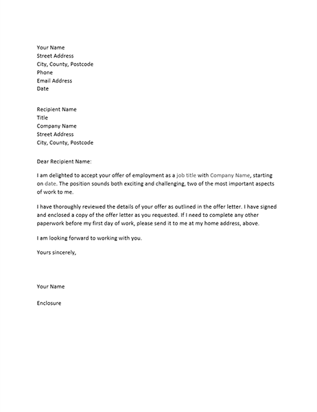employment offer letter congratulations office 21500 | lt03465073