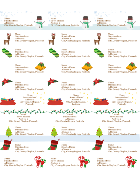 gift tag labels  christmas spirit design  30 per page