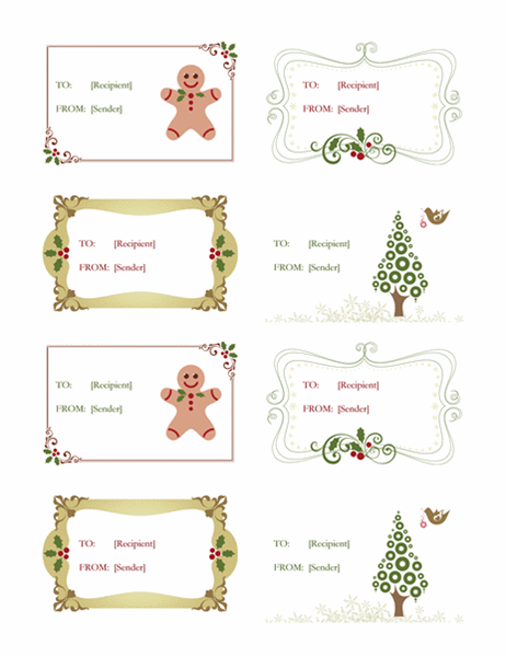 Gift labels (Retro Holiday design, 8 per page)