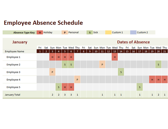 Employee absence schedule - Office Templates