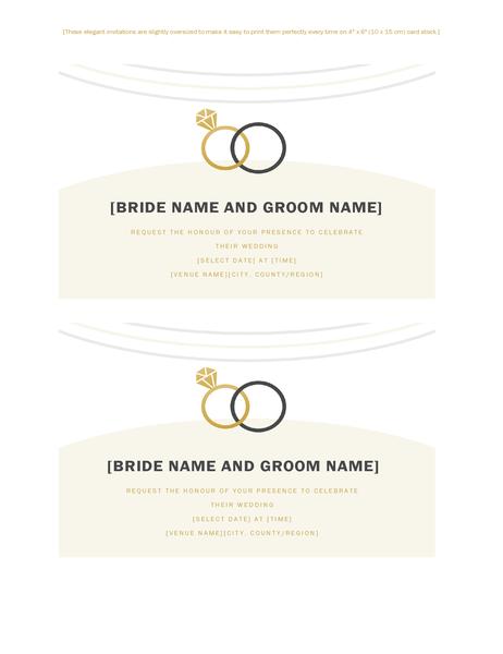 Wedding invitations (Deco design, 2 per page, for Avery 5889)