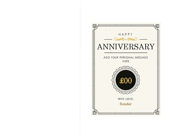 Anniversary gift voucher note card