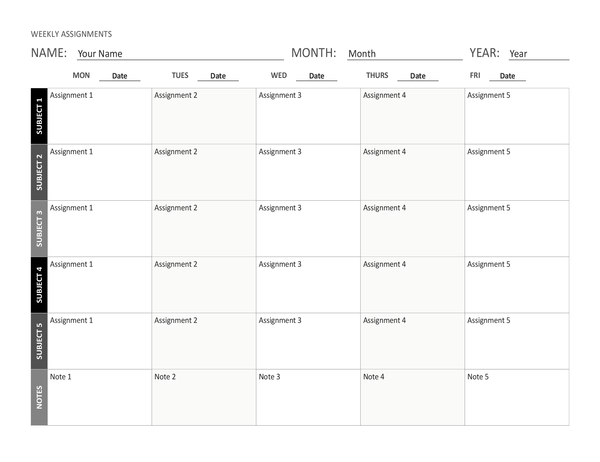 Weekly assignment sheet (landscape)