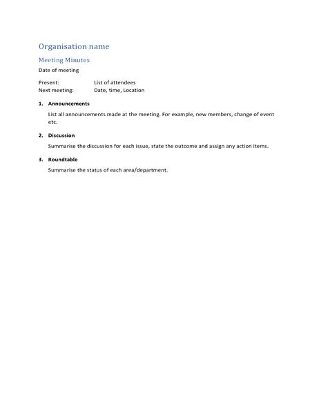 Meeting minutes (short form)