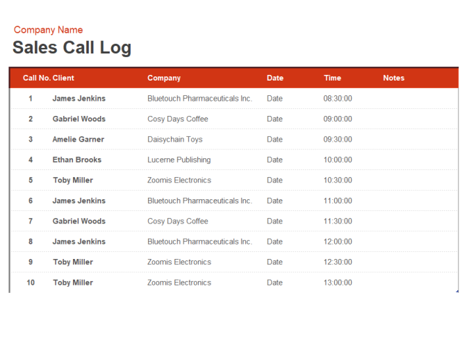 Sales Call Log And Organiser Office Templates
