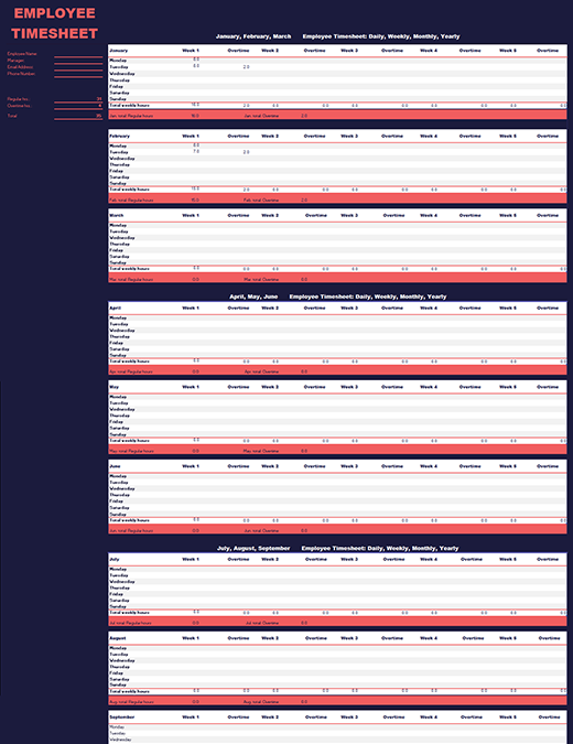 Employee time sheet (weekly, monthly, yearly)