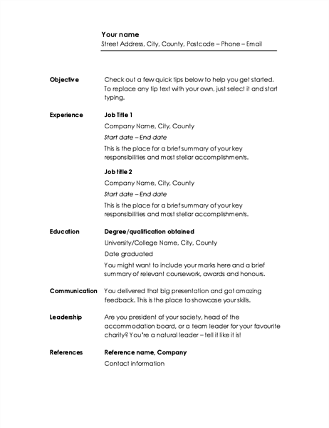 Chronological CV (Minimalist design)