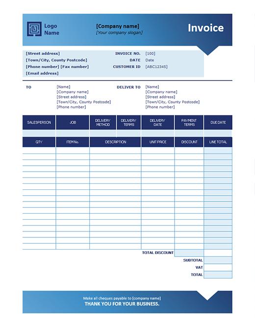 Sales invoice (Blue Gradient design)