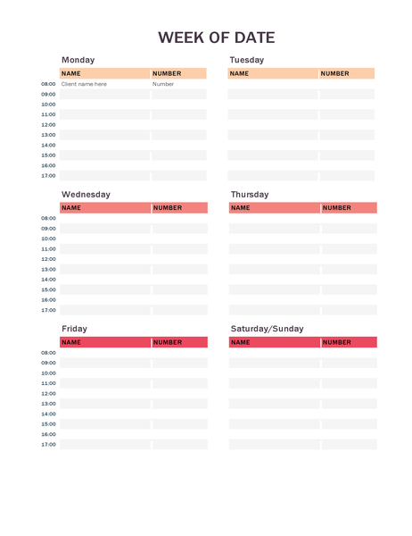 Weekly appointment calendar