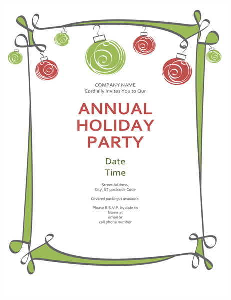 Christmas party invitation with ornaments and swirling border (Informal design)
