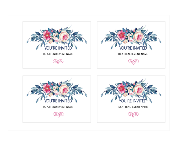 Party invitation (floral design)
