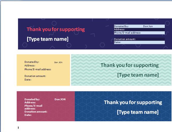Team fundraiser receipt (3 per page)