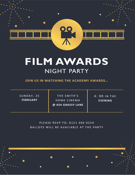 Film awards party invitation