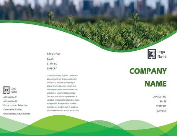 Business brochure (Green Wave design, half-fold)
