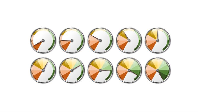 Multi-colour gauge graphics