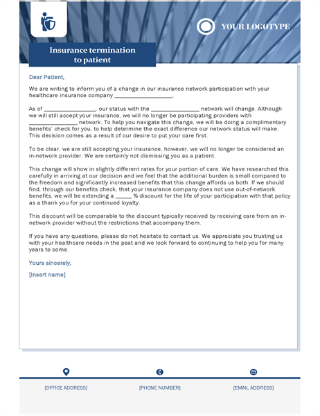 Insurance termination letter healthcare