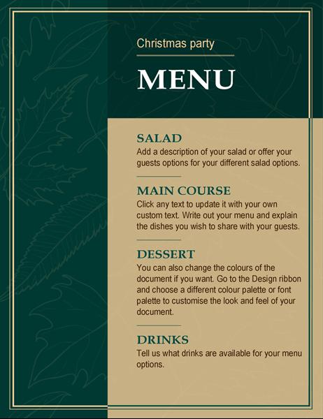 Elegant Christmas menu