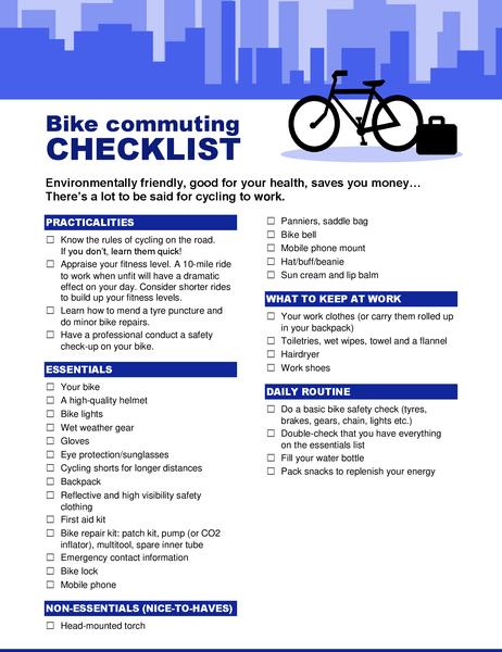 Bike commuting checklist