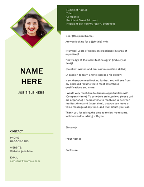 Green cube cover letter