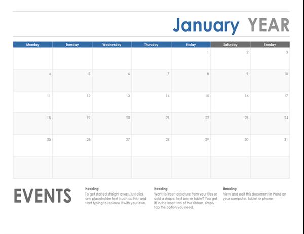 Horizontal calendar (Sunday start)