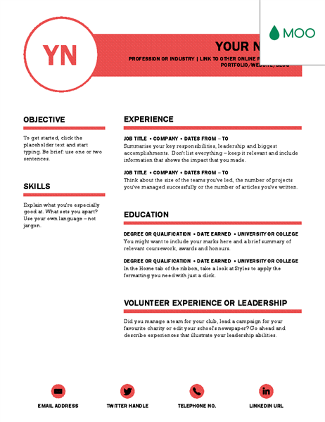 Polished CV, designed by MOO