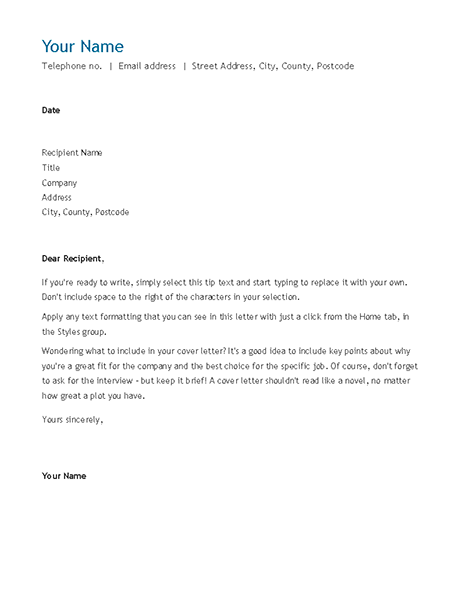 CV cover letter (chronological)