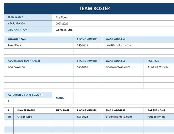Sports team sheet