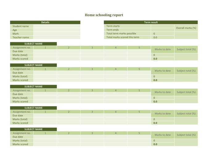 Home schooling progress record