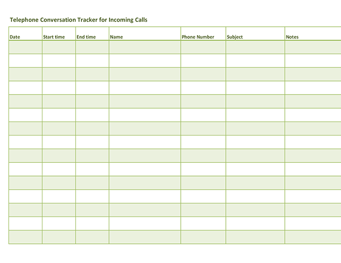Telephone conversation tracker (for incoming and outgoing calls)