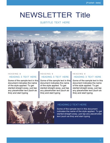 Newsletter with headings