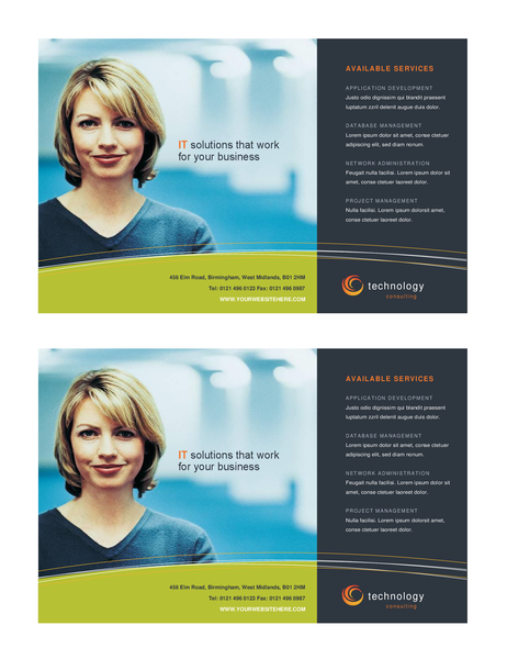 Technology business flyer (half-page, two per page)