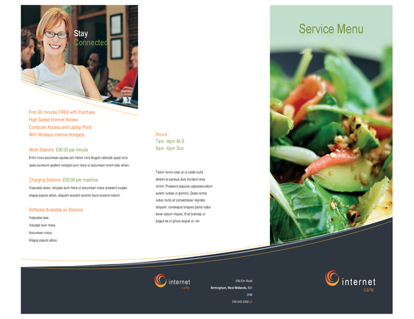 Technology business internet cafe menu (tri-fold)