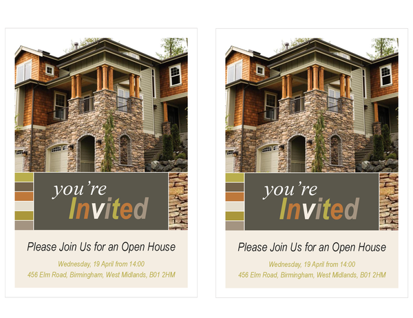 Property open house invitation (two per page)
