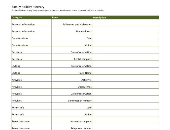 Family holiday itinerary