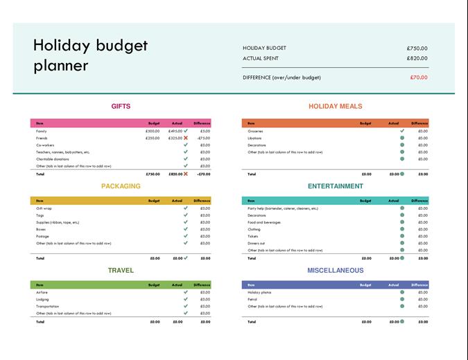 Christmas budget planner