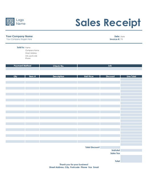 Sales receipt (Simple Blue design)