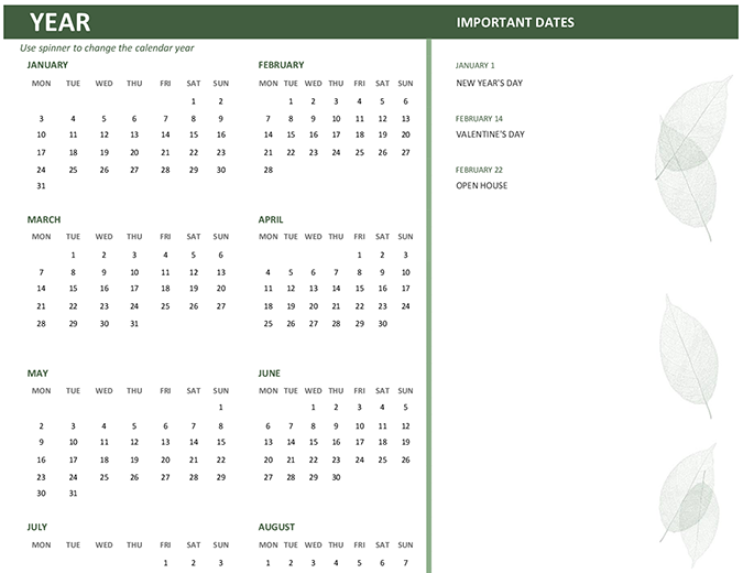 Business calendar (any year, Mon-Sun)