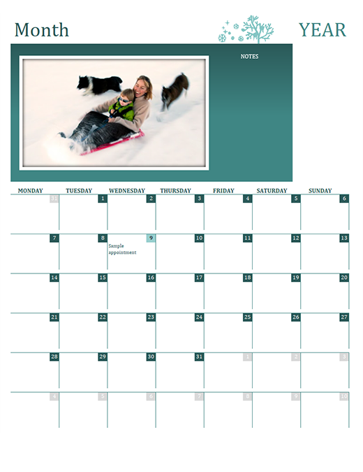 Seasonal family calendar (any year, Mon-Sun)