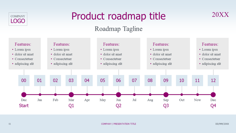 Product roadmap timeline light