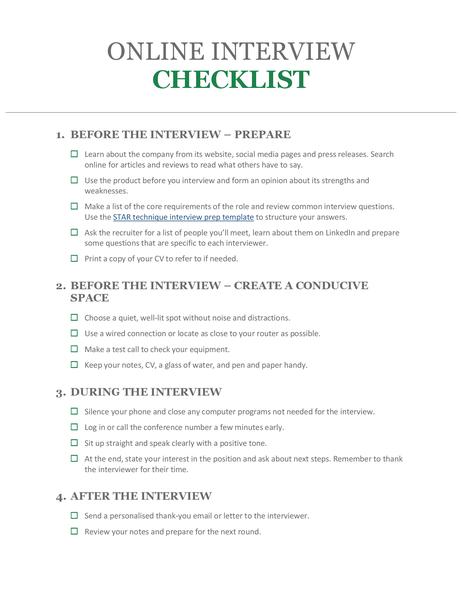 Online interview checklist