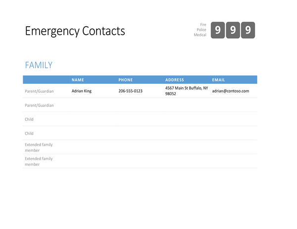 Bold emergency contact list