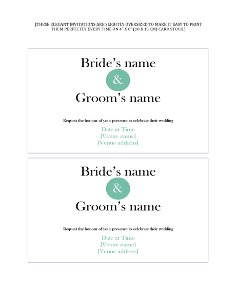 Simple wedding invitations (two per page)