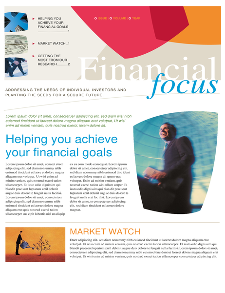 Financial business newsletter (two pages)