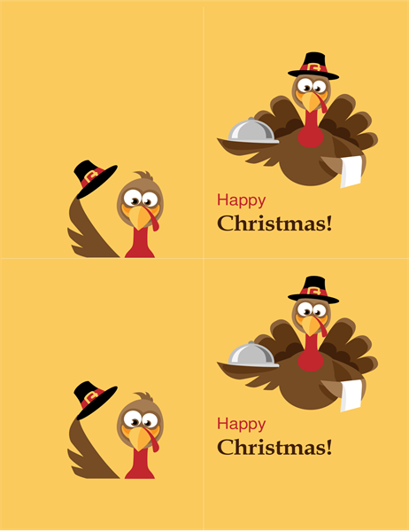 Cheerful turkey Christmas card