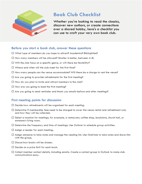 Book club checklist