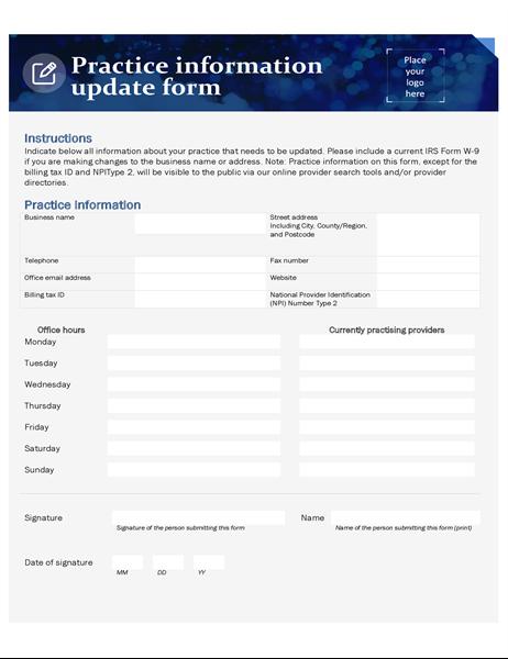 Practice update form healthcare