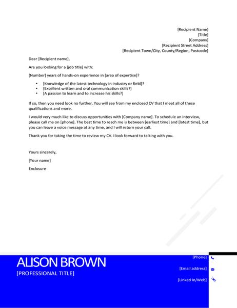 Inverted modern cover letter