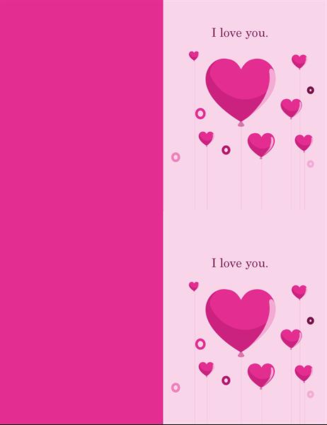 Heart balloons Valentine's card