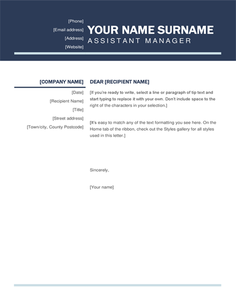 Organised modern cover letter