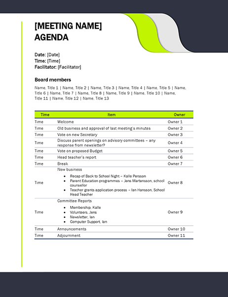 Education meeting agenda